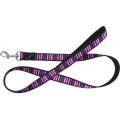 "Hem And Boo Block Dog 3/4"" X 48"" Padded Lead Black/Pinks"