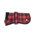 "DD Dog Coat fleece red tartan 26""/66"