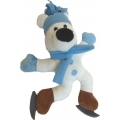 Animate Blue Skating Polar Bear Squeaky Christmas Toy 10""
