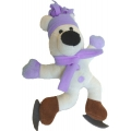 Animate Pink Skating Polar Bear Squeaky Christmas Toy 10""
