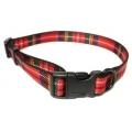 Ancol Nylon Collar Red Tartan Adjustable 45-70cm