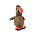 Animate Brown Puffin Bird Dog Toy With Squeaker 9.5""