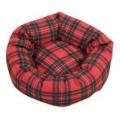 "Small Red Tartan Round Dog Bed / Cat Bed - Danish Design Royal Stewart 16"""