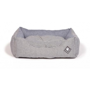 "Small+ Blue Striped Snuggle Dog Bed - Danish Design Maritime 45cm (18"")"