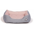 "Small+ Grey & Red Striped Snuggle Dog Bed - Danish Design Maritime 45cm (18"")"