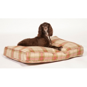 Large Beige & Red Tartan Duvet Dog Bed - Danish Design Newton Moss