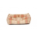 Small+ Beige & Red Tartan Snuggle Dog Bed - Danish Design Newton Moss 46cm - 18""