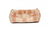 Large Beige & Red Tartan Snuggle Dog Bed - Danish Design Newton Moss 89cm - 34""