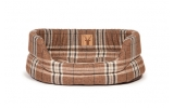Large++ Brown Tartan Slumber Dog Bed - Danish Design Newton Truffle 101cm 40""