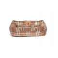 Small+ Brown Tartan Snuggle Dog Bed - Danish Design Newton Truffle 46cm - 18""