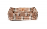 Large Brown Tartan Snuggle Dog Bed - Danish Design Newton Truffle 89cm - 34""