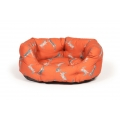 "Small+ Orange Hare Print Deluxe Slumber Dog Bed / Cat Bed - Danish Design Woodland Hare 18"" 45cm"