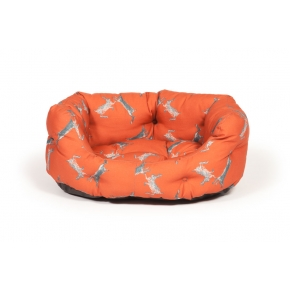 "Large++ Orange Hare Print Deluxe Slumber Dog Bed - Danish Design Woodland Hare 40"" 101cm"