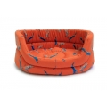 "Medium++ Orange Hare Print Slumber Dog Bed - Danish Design Woodland Hare 30"" 76cm"