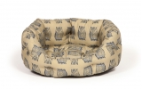"Large+ Owl Print Deluxe Slumber Dog Bed - Danish Design Woodland Owl 35"" 89cm"