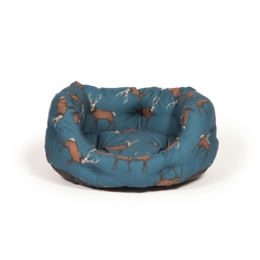 "Large+ Stag Print Deluxe Slumber Dog Bed - Danish Design Woodland Stag 35"" 89cm"