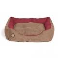 "Large Brown & Red Snuggle Dog Bed - Danish Design Heritage Houndstooth 89cm - 34"""