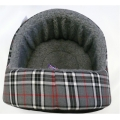 """Dog And Cat Bed Hooded 18"""" - 46cm Cotton With Fur Inner Lucky Pet"""
