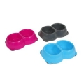 Animal Instincts Plastic Twin Pet Bowl Grey, Pink Or Blue 280ml X 2