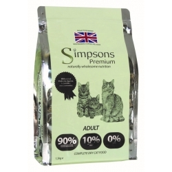 Simpsons Premium Complete Adult Cat Food 90 / 10 Chicken Fish & Turkey 1.5kg