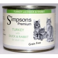 Simpsons Premium Adult Cat Turkey With Duck & Rabbit 200g Can