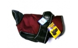 "Animate Burgundy and Black Waterproof & Reflective Padded Underbelly Nylon 34"" Dog Coat"