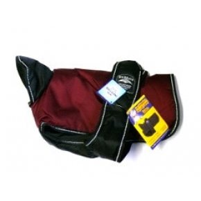 "Animate Burgundy and Black Waterproof & Reflective Padded Underbelly Nylon 24"" Dog Coat"
