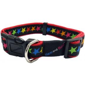 Hem & Boo Black Stars Adjustable Collar 3/4 Inch X 14 - 18 Inch 1.9 X 35 - 45cm