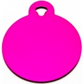 Engraved Small Pink Circle Dog Tag - Cat Tag