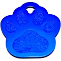Engraved Blue Paw Print Dog Tag - Cat Tag
