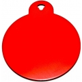 Engraved Small Red Circle Dog Tag - Cat Tag
