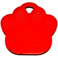 Engraved Red Paw Print Dog Or Cat Tag