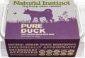 Natural Instinct Pure Raw Duck Dog 1kg Frozen