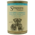 Simpsons Adult Dog Food Four Bird Casserole With Organic Vegetables 400g Can