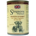 Simpsons Venison & Rabbit With Organic Vegetables Grain Free Adult Dog 400g Can