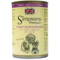 Simpsons Turkey Duck & Venison With Organic Vegetables Grain Free 400g Puppy Can