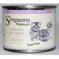 Simpsons Premium Kitten Chicken Turkey With Salmon 200g Can