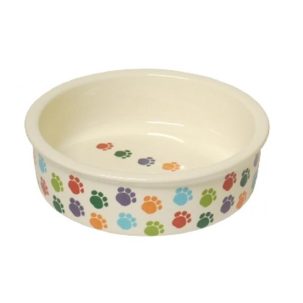 "Cat and Dog Paw Print Ceramic Bowl 5"" Pet Brands - photo#50"
