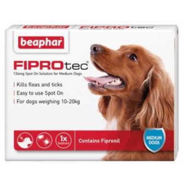 beaphar fiprotec spot on medium dog 134mg x 6. Black Bedroom Furniture Sets. Home Design Ideas