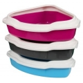 Animal Instincts Corner Litter Tray With Rim Grey Pink Blue