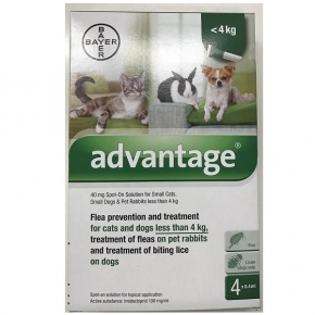 Advantage 40 Flea treatment under 4kg Dog Cat and Rabbit 4 pipette