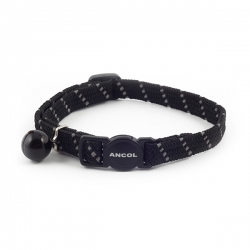 Ancol Cat Collar Safety Elastic Softweave Black