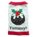 Animate Christmas Pudding Dog Jumper With A Button Collar 10""