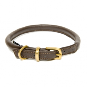 D&H Rolled Leather Collar Brown M 35 -42cm