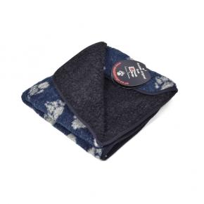 Fleece Blanket Navy with Paws Large Danish Design