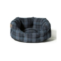 "Large++ Navy / Grey Lumberjack Print Deluxe Slumber Dog Bed - Danish Design 40"" 101cm"