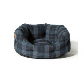 "Large++ Navy / Grey Lumberjack Print Deluxe Slumber Dog Bed - Danish Design 40"" 101cm"