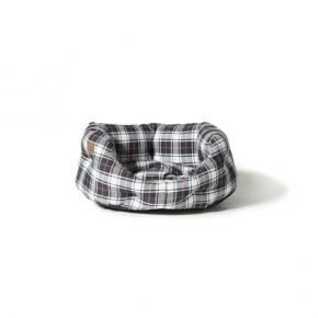 """Large+ White / Navy Lumberjack Print Deluxe Slumber Dog Bed - Danish Design 35"""" 89cm"""