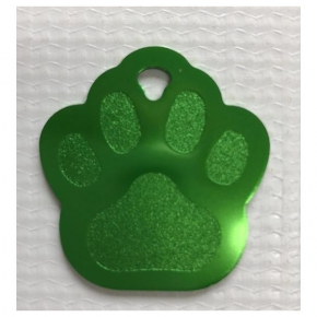 Engraved Green Paw Print Dog Tag - Cat Tag