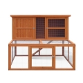 Harrisons Bowness Double Height Hutch with run natural 150x121x117cm